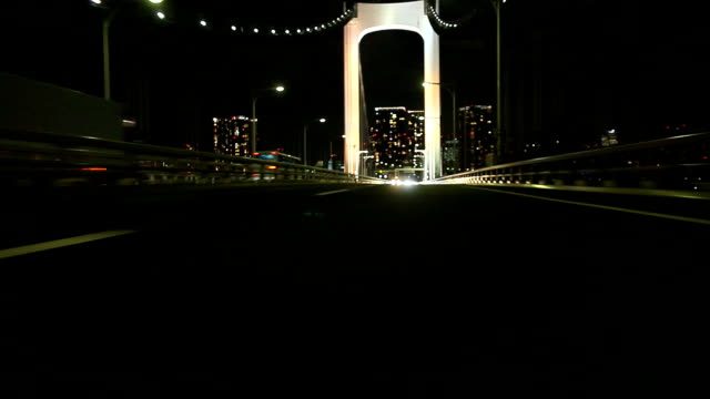 Night highway at Tokyo ,Rear View (timelapse) video