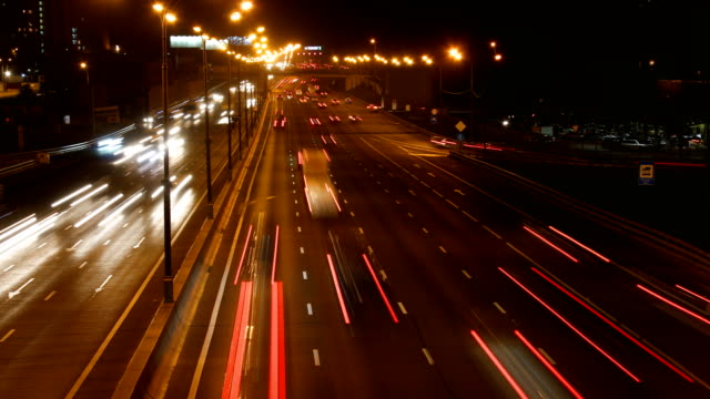 night highway time lapse video