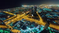 night illumination dubai city downtown roof top panorama 4k time lapse united arab emirates video