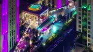 night illumination dubai famous hotel intrance roof top view 4k time lapse united arab emirates video
