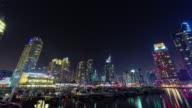 night illumination dubai marina famous dock panorama 4k time lapse united arab emirates video