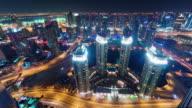 night illumination dubai marina traffic streets roof panorama 4k time lapse united arab emirates video