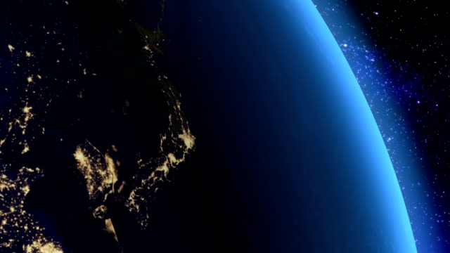 Night in Japan from space video