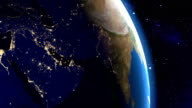 Night in Middle East from space video
