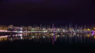 Night in Port Vell, Barcelona - Time Lapse video