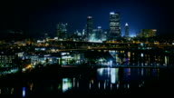 Night life of american city, panoramic time lapse shoting video