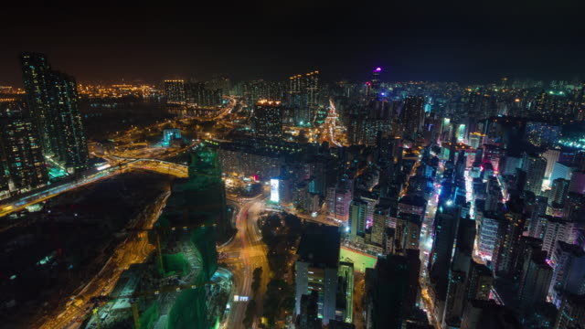 night light city scape from hong kong roof top 4k time lapse video