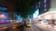night light city tram traffic road trip 4k time lapse from hong kong video
