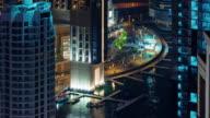 night light dubai marina walking bay yacht dock 4k time lapse united arab emirates video