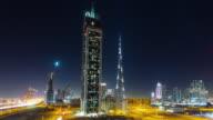 night light dubai traffic street world highest building block 4k time lapse united arab emirates video