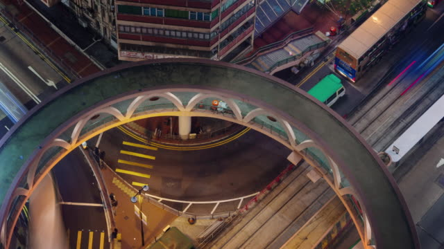 night light flyover roads 4k time lapse from hong kong roof top video