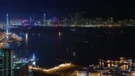 night light hong kong bay 4k time lapse from the roof top video