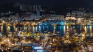 night light hong kong port panoramic 4k time lapse from china video