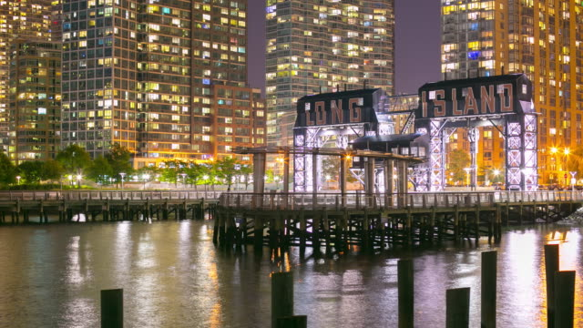 night light long island pier 4k time lapse from new york video