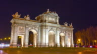 night light madrid traffic circle arch de triumph 4k time lapse spain video