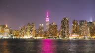 night light manhattan panorama from nyc queens 4k time lapse video