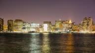 night light manhattan panoramic view 4k time lapse from new york video