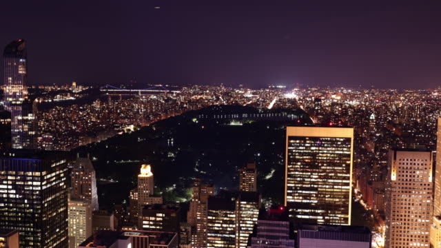 night light new york city uptown central park view 4k time lapse video