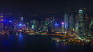 night light panoramic bay 4k time lapse from hong kong china video