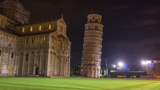 night light pisa cathedral and tower duomo square panorama 4k time lapse italy video