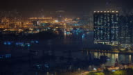 night light port side 4k time lapse from hong kong china video