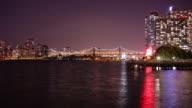 night light queensboro bridge pier 4k time lapse from new york video