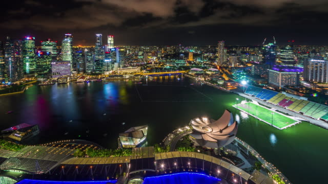 night light roof panoramic view 4k time lapse from singapore famous hotel video