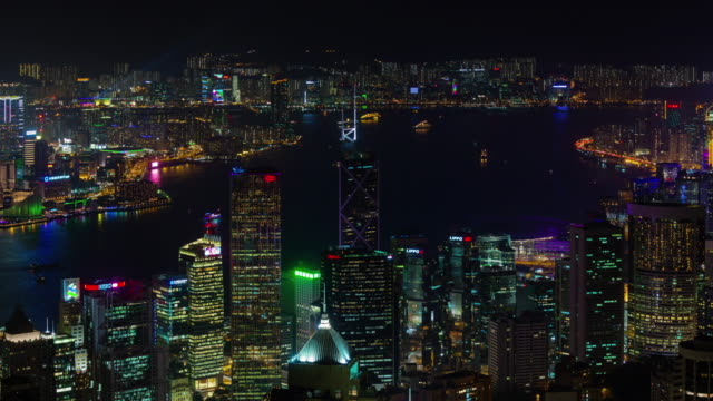 night light roof top panorama 4k time lapse from hong kong video