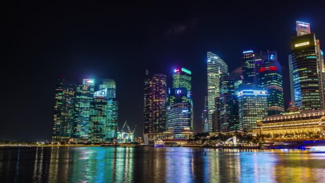 night light round panoramic 4k time lapse from singapore bay video