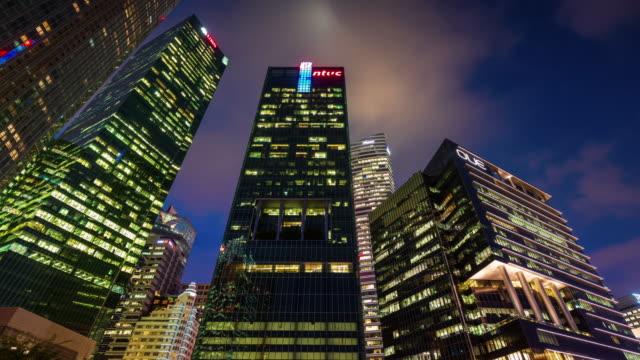 night light singapore high buildings 4k time lapse video