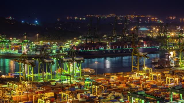 night light singapore port working hard 4k time lapse video