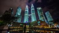 night light sky panoramic towers view 4k time lapse from kuala lumpur video