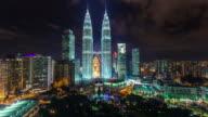 night light sky towers panorama 4k time lapse from kuala lumpur video