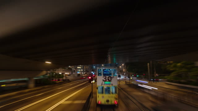 night light tram road trip 4k time lapse from hong kong city video