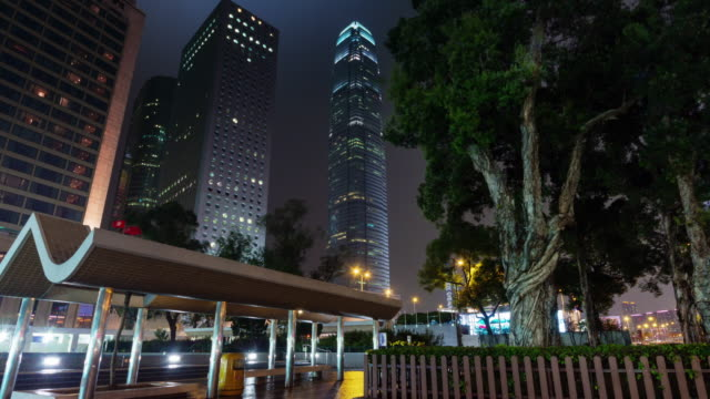 night light view on skyscrapers 4k time lapse from hong kong center video