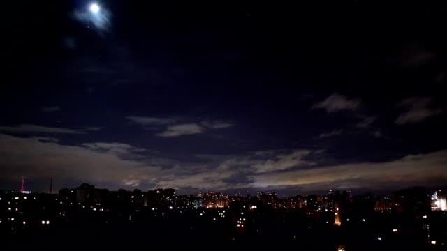 Night lightning strikes, transition clear sky to thunder sound video