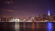 night manhattan panorama with famous buildings 4k time lapse from new york video