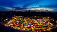 Night market. Time Lapse video
