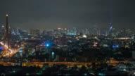 Night modem city Bangkok panoramic view video
