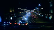 Night movement of cars in the city. Time lapse video