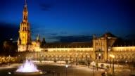 Night panning shot of Plaza de Espana in Seville, Spain video