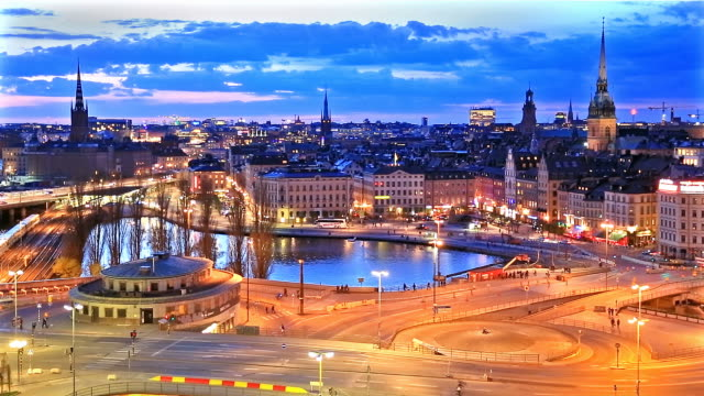 Night panorama of Stockholm, Sweden video