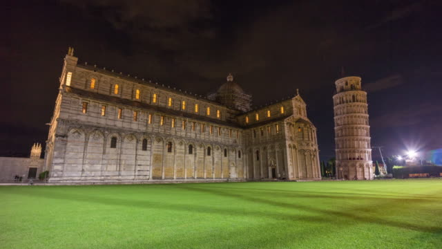 night pisa cathedral and tower duomo square side panorama 4k time lapse italy video