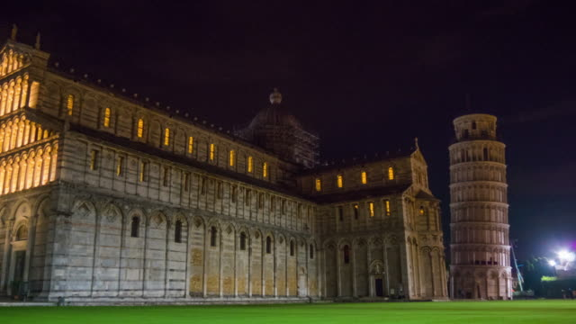 night pisa cathedral and tower square walking panorama 4k hyper time lapse italy video