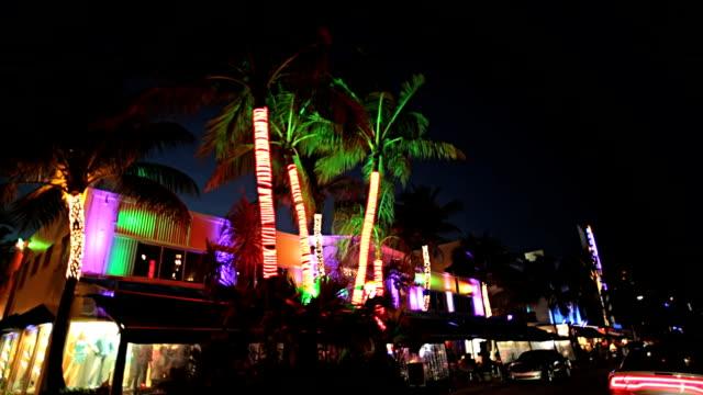 Night P.O.V. driving by illuminated restaurants on Ocean Drive Miami, USA video