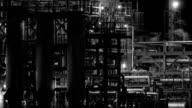 Night Refinery BW video