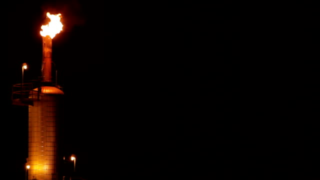 Night Refinery Stack video