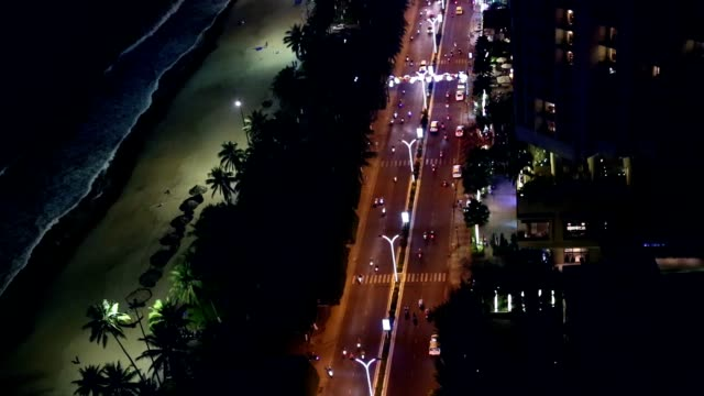 Night road of Asian megapolis aerial view. video