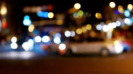 Night road with cars in blurred image video