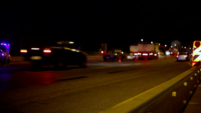 Night roadworks on highway video